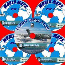 Flight Sim Inc complet cartes du monde + plus de 150 Avions 5 DVD réaliste Fun Simulateur