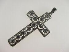 Jugendstil Anhänger Kreuz Antik 835 Silber Cross Kruzifix Vintage 5g Markasit