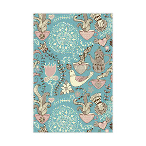 Blue Little Animal And Foods Printed Dinning Room Faux-Leather Padded CNK2125
