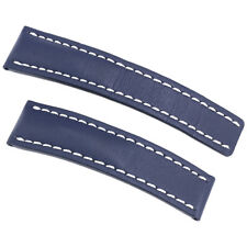 Breitling Strap styled in Blue Leather and White Stitching 22-20mm