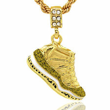 "Mens 14k Gold Plated Hip Hop Retro 11 ""Championship"" Pendant 4mm 24"" Rope Chain"