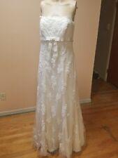 davids bridal wedding dress ivory size 6 lace overlay style 31341