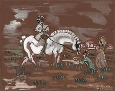 BERNARD HELIN HENRI DAYDE Painting HORSE RIDER 1946 POSSIBLY THEATRE DESIGN
