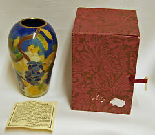 "Bill Yee 1977 Hand Crafted Grape Vine 5"" Cloisonne Blue Vase w/ box"
