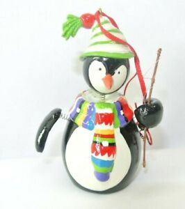 Cute Penguin Spring-Bobblehead Ringing Bell Christmas Tree Ornament