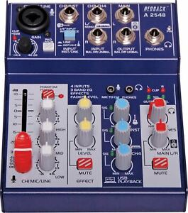 Ultra compact design 4 Channel Mixer USB Output & Effects with USB PC interface