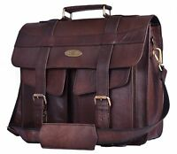 Men's 15.6 Inch Leather Messenger Bag For Laptop Briefcase Satchel Travel Bag