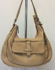 Women's Giani Bernini Handbag Purse Tan Genuine Pebbled Leather Hobo Style
