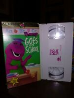 Barney Goes To School Sing Along VHS WHITE TAPE  FREE SHIP EDUCATIONAL CLASSIC