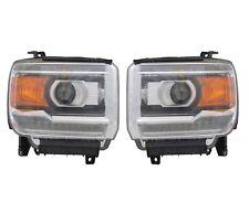Left & Right Genuine Led Style Headlights Headlamps Pair Set For GMC Sierra 1500