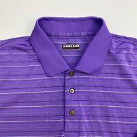 Kirkland Signature Polo Shirt Men's Size 2XL XXL Short Sleeve Purple Striped
