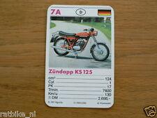 10-MOTOREN 7A ZUNDAPP KS125  KWARTET KAART MOTORCYCLES, QUARTETT,SPIELKARTE