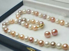 Genuine 8-9MM White/Pink/Purple Natural Akoya Cultured Pearl Necklace + Earrings