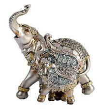 Elephant Mother Baby Calf Ornament Statue Figurine Sculpture Silver Mirror Art
