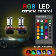 2x H11 5050 LED 27 SMD RGB Coche antiniebla Bombillas Headlight Luz + Remoto SG