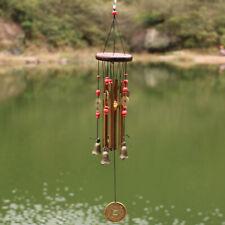 Windspiel 4 Klangröhren Natur Bronze Windharfe Glück Hängedeko Klangspiel 58cm