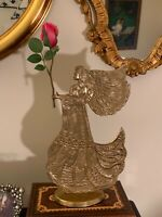 "Large Brass Angel Vintage, 12"" India, holder incense, flowers, crystal, candle"