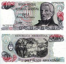 ARGENTINA 10 Pesos Banknote World Paper Money UNC Currency Pick p313 Note Bill