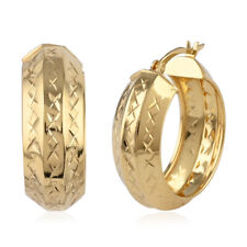 14K Yellow Gold Over Hoops Earrings 925 Sterling Silver Jewelry For Her