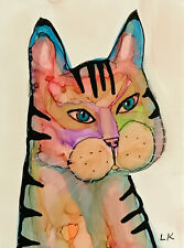 """ACEO original CAT in color painting by Lynne Kohler 2.5x3.5"""""""