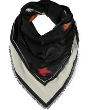 GIVENCHY Black & Cream Rottweiler Graphic Print Silk-Blend  Scarf 140cm X 140cm