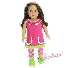 """A Line Ruffle Dress & Striped Leggings For Your American Girl or Other 18"""" Dolls"""