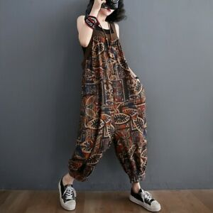 Lady Floral Printed Cotton Dungarees Jumpsuit Baggy Trousers Pants Overalls Thin
