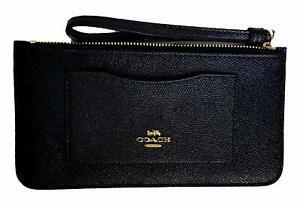 Coach Women's Crossgrain Leather Zip Top Wristlet Wallet - Black