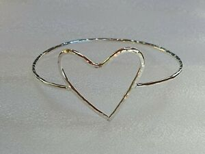 Handmade sterling silver bangle with heart ❤