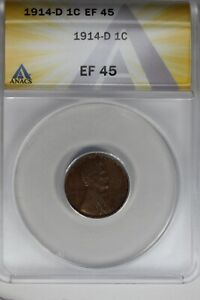 1914-D   .01   ANACS   EF 45    Lincoln Head Cent, Lincoln One Cent