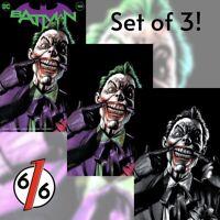 🚨🦇🔥 BATMAN #100 MICO SUAYAN SET OF 3 Exclusive Variants Ghost-Maker Joker War