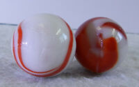 #11109m Vintage Pair of 2 Larger Transition Transitional Marbles .77 to .80 In