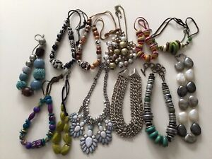 Job Lot 12 x Chunky Retro Necklaces Glass, Faux Pearls, Wood, Beaded, Acrylic