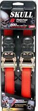 "2pk Skull Design Ratchet Strap Motorcycle, ATV, Tie Down 1"" X 8 Feet 600lb"