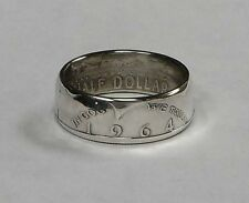 Coin Ring made from Silver 1964 JFK  Half Dollar in size 8-14