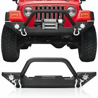 Front Bumper for 87-06 Jeep Wrangler TJ with Winch Plate & 2x LED Lights