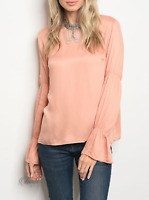 Mustard Seed | Peach Long Sleeve Bell Cuff Crew Neckline Top | NWT Size: S, M, L