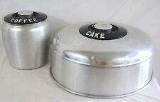 VTG Kromex Cake Dome Coffee Canister Aluminum Kitchen Decor Silver Black Storage