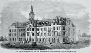 1871 Original Print CANADA ONTARIO HASTINGS COUNTY - BELLEVILLE INSTITUTION