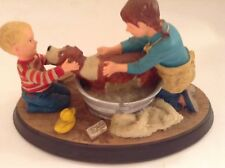 "1990 Norman Rockwell's Age of Wonder ""Splish Splash"" Resin Sculpture"