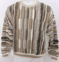 Roundtree & York Coogie Biggie Cosby 90's Vtg LS Textured Knit Sweater Men's L
