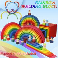 Rainbow Wooden Stacker Building Blocks Stacking Nesting Nesting Kids Toys