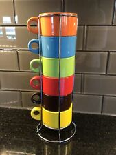 PIER 1 IMPORTS STACKING COFFEE CUP MUGS w RACK ,STONEWARE NWOT NEW