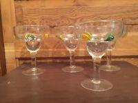 Margarita Glass with Applied Art Glass Fruit Slices Set Of 4