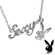 Playboy Necklace Silver Plated Pendant Chain Swarovski Crystal Bunny Charm SEXY