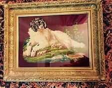 19th Century Antique GOLD GILT Acorn Carved Frame W/ OLD Needlepoint of DOG