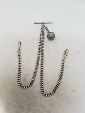 Antique Solid silver double Albert chain For pocket Watch C1900 Ref1025