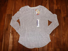 NWT Womens WOOLRICH Space Dye Gray Thermal Henley Shirt Top S Small
