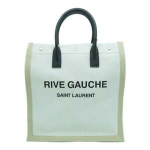 Saint Laurent Rive Gauche N/S Shopping Tote Bag Linen and Cotton 631682