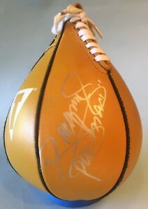 Manny Pacman Paquiao / Fred Roach Autograph TITLE Speed Bag Yellow Peanut